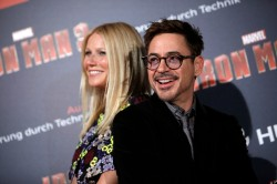 Stark and Potts (Downey Jr. and Paltrow) at the Paris premiere of Iron Man 3.